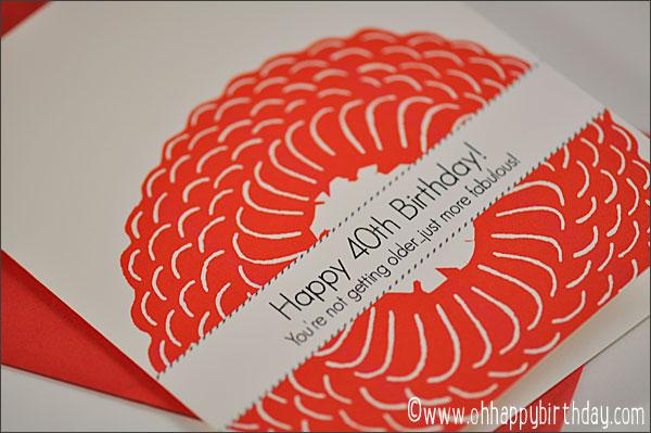woodcut 40th birthday card/Japanese Woodcut Birthday Card