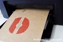 Printing a printable birthday card on kraft card stock with the Fuji Xerox printer.