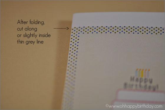 birthday cake greeting card/Folded Birthday Card