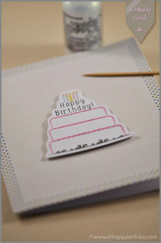 glitter on birthday cake card/Adding Glitter