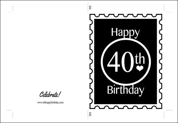 40th birthday card/40th Birthday Card Template Image
