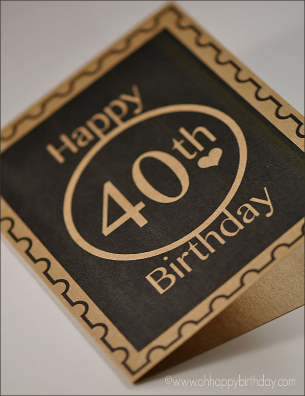 40th birthday/Kraft 40th Birthday Cards