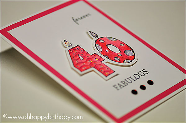 40 With Candle Birthday Card 40th