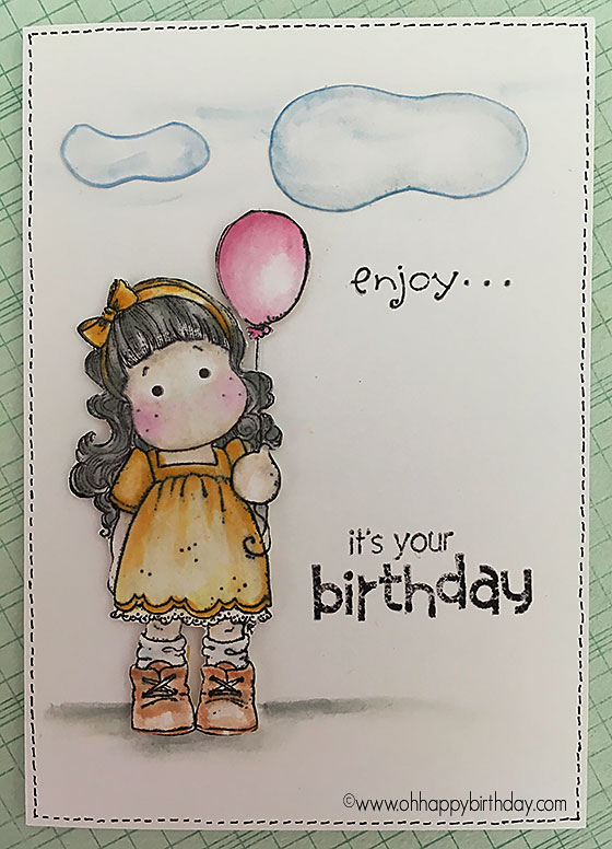 Birthday balloon card - completed at last! So much fun to do and so relaxing colouring in the image. Love to do stamping.