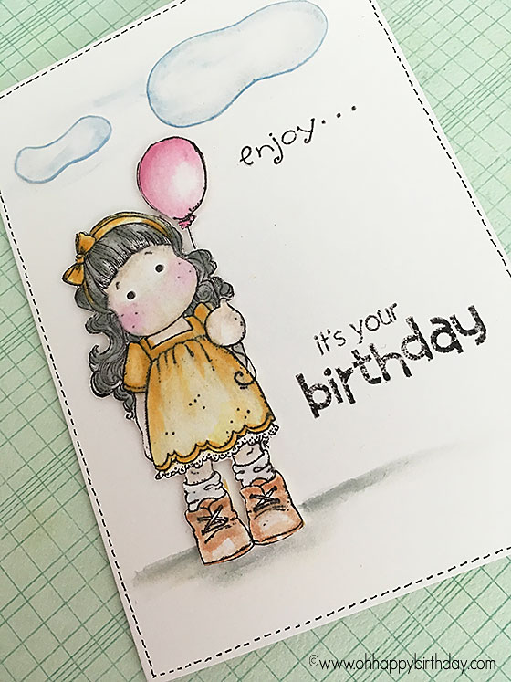 Birthday balloon girl with stamped words 'it's your birthday'  - stamped with black memento ink and coloured in with copic markers.