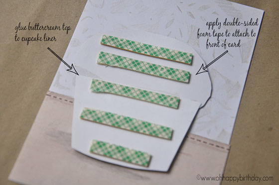 attaching cupcake to card