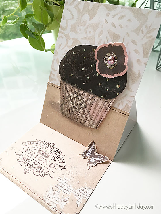 handmade cupcake birthday card - an easel card with bling and butterfly