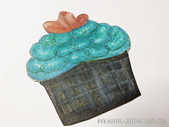 Copic Coloured Cupcake Image