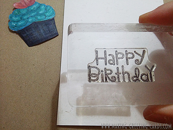 happy birthday cupcake card/Stamping Happy Birthday on Cupcake Card