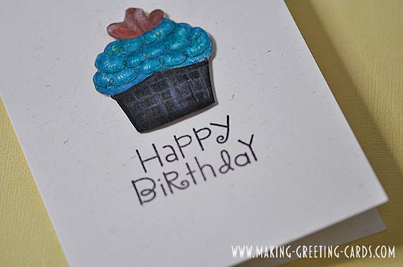 Copic Marker Coloured Cupcake Birthday Card