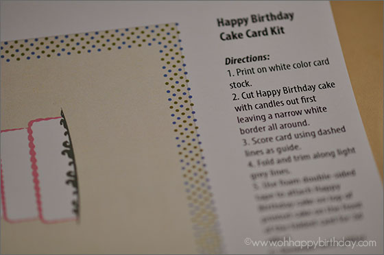 happy birthday cake card/Instructions for Happy Birthday Card