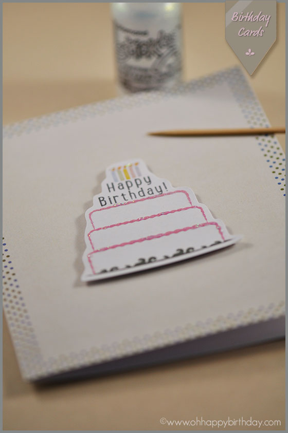 glitter on birthday cake card/Adding Glitter