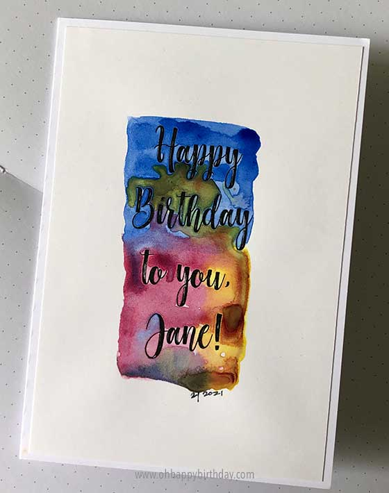 Simple Watercolour Birthday Card