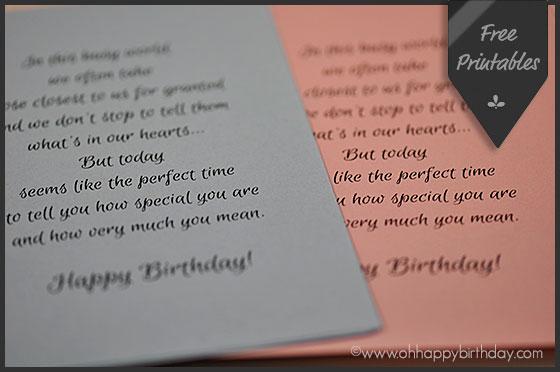 Happy birthday card inserts