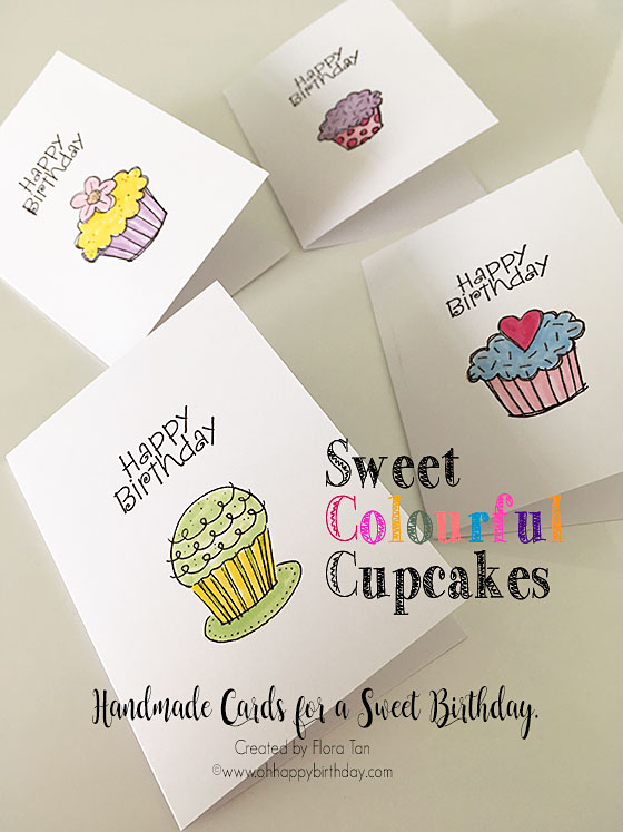 birthday cupcake cards - cupcake design - swirls, heart, flowers, sprinkles and polka dots. Have a stack of these handmade happy birthday cards at hand.