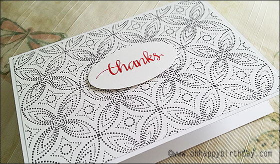 Calligraphy Thanks on thank you greeting card