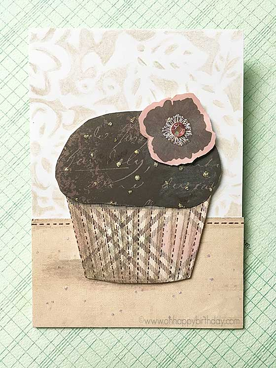 Cupcake birthday card with flower and cupcake liner
