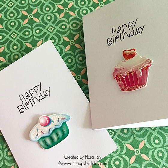 birthday card using colourful cupcake stickers  and Happy Birthday stamp