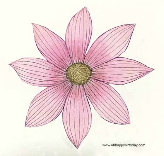 Watercolour Flower in Pink Wash - to be made into a birthday card.