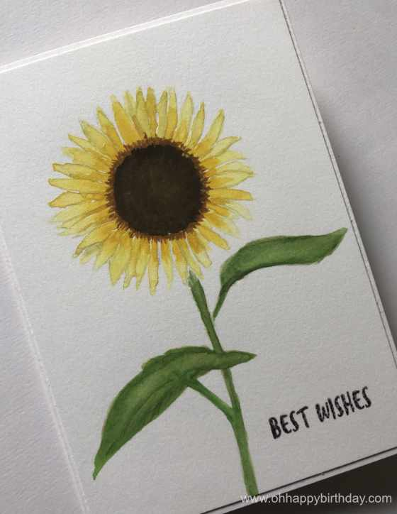 Watercolour Sunflower Birthday Card - a birthday card hand-painted with watercolour by a friend for a good friend.
